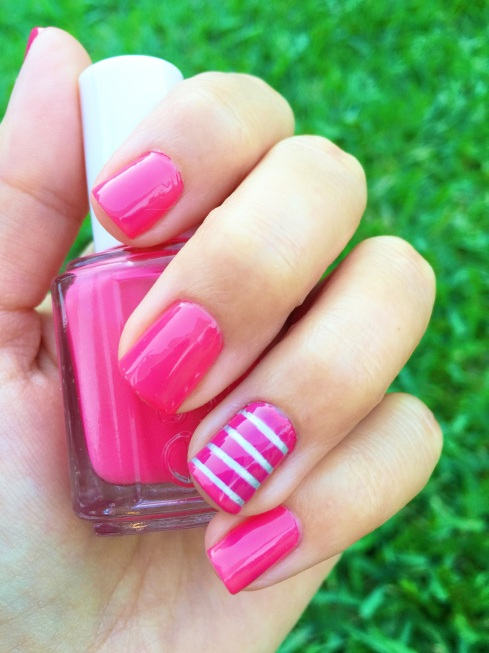Valentines Day Striped Nails